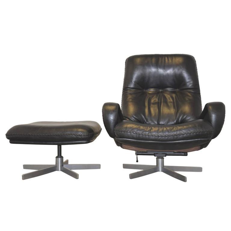 Vintage James Bond 1960s De Sede Swivel Club Lounge Armchair With Ottoman For