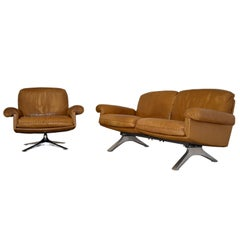 Vintage De Sede DS 31 Two-Seat Sofa with swivel armchair, Switzerland 1970`s