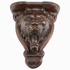 Carved Wood Lion Shelf