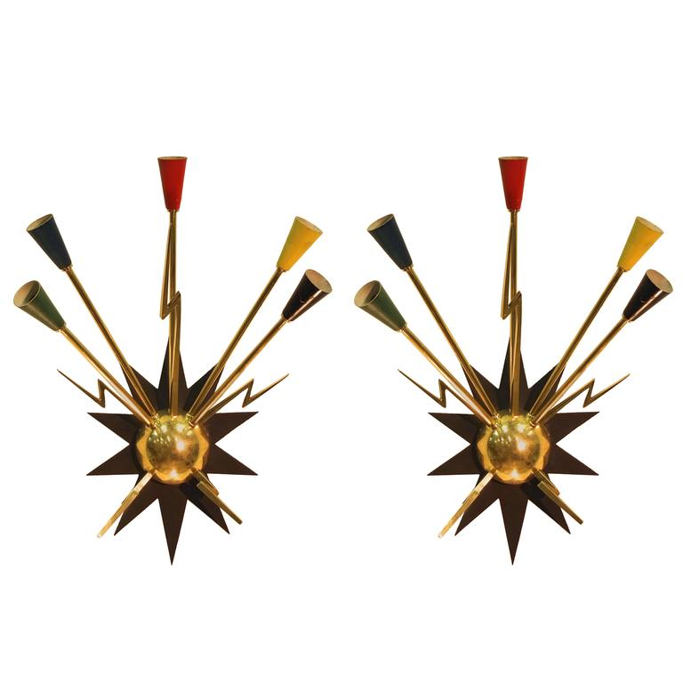 Pair of French 1950s Sputnik Sconces from Casino de Clichy For Sale