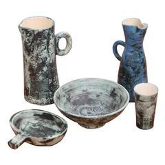 Set of five Ceramic Pcs by Jacques Blin , France, 1950s