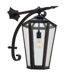 Large Wrought Iron Arm Mount Outdoor Lantern by Anthony Grumbine, Old World