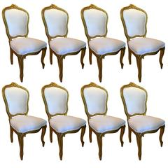 Set of Eight Louis XV Style Giltwood Side Chairs, Early 19th Century