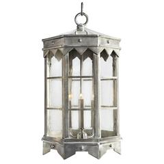 New Large Iron Pendant Lantern in Brushed Nickel by Britt Jewett