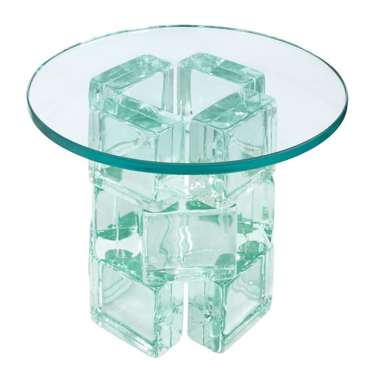 Imperial Imagineering Chic Occasional Table With Solid Glass Blocks 1981 At 1stdibs