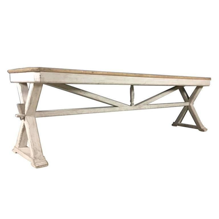 French Antique Trestle Table Or Console In Original Paint, 19th Century 1