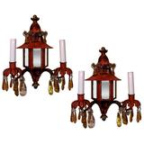 Pair of 19th Century French Napoleon III Chinoiserie Style Tole Sconces