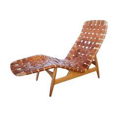 Arne Vodder Leather Strap Chaise, Denmark, 1952