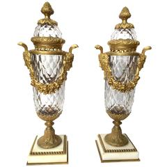 Baccarat Cut Crystal and Gilt Bronze Mounted Urns Circa 1890