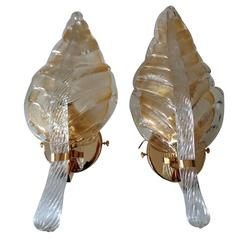 Pair of Barovier Murano Rugiadoso Leaf Wall Sconces