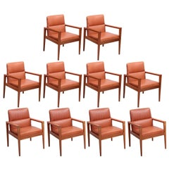 Set of Ten labeled Jens Risom Armchairs in Walnut in cognac leather