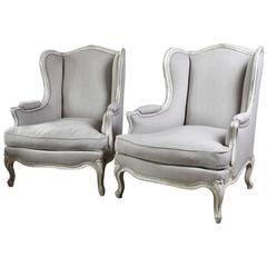 Pair of Large 19th Century French White Painted Bergères or Fauteuils
