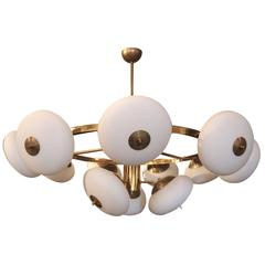 1970s Italian Tiered Round Brass Chandelier with Adjustable Glass