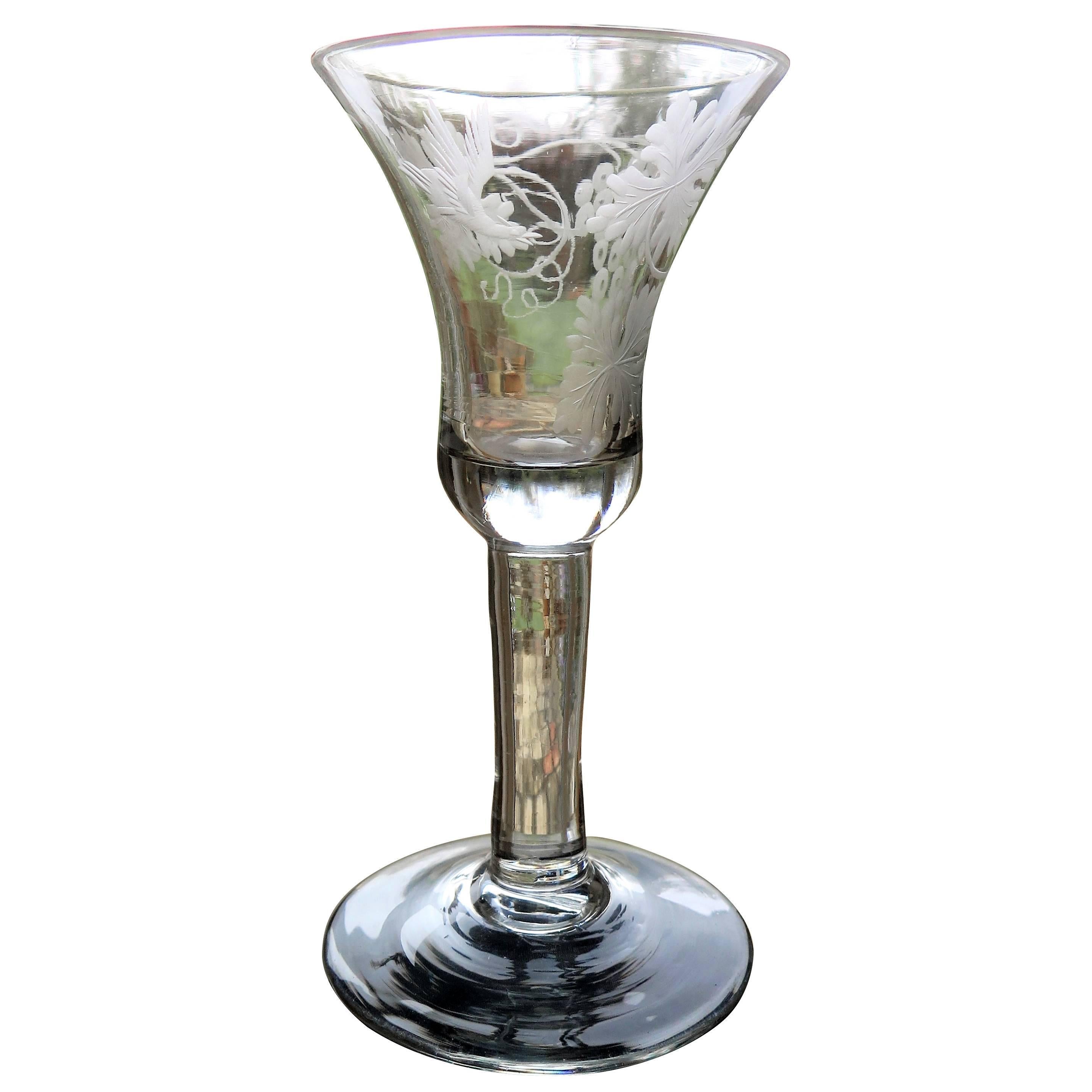George II English Wine Drinking Glass Engraved Bell Bowl Hand Blown, Circa 1745