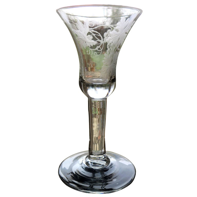 George II English Wine Drinking Glass Engraved Bell Bowl Hand Blown, Circa 1745 For Sale