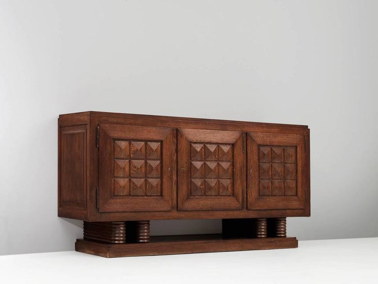 Art Deco Gaston Poisson Credenza in Oak For Sale