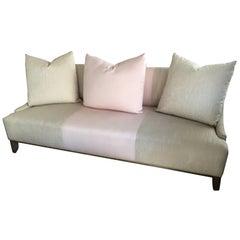 Contemporary Modern Tan Linen & Pink Custom-Made Fashion Sofa