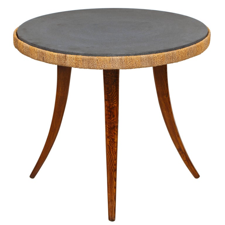 Unusual French 1940s Marble-Top Table with Jute Apron on Splayed Legs For Sale