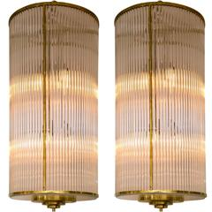 Pair of Large and Sleek Italian Glass and Brass Lanterns