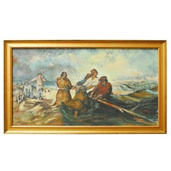 Men at Sea Oil on Canvas Painting