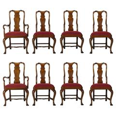 Set of Eight English Walnut Queen Anne Style Dining Chairs