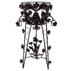 Blackend Steel Planter, Ornate Flower Motif