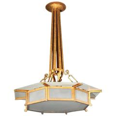 "Bronze Finish French Art Deco Pendant 30"" Diameter Light"