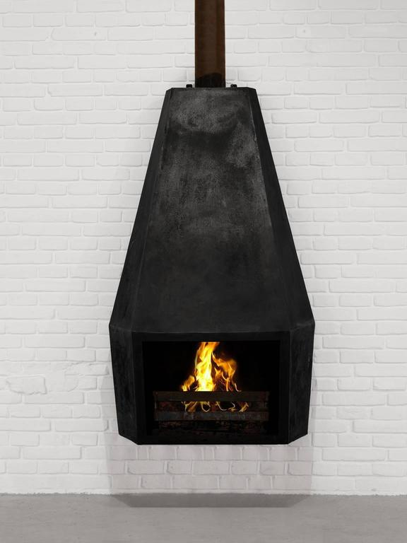 Wall Mounted Fire Place In Black Steel At 1stdibs