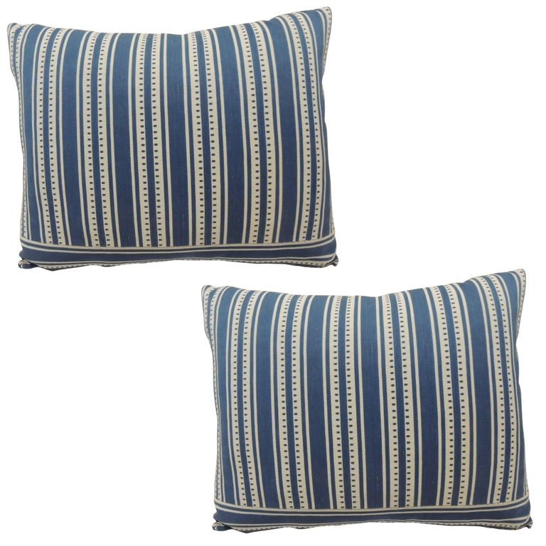 Pair of Vintage French Blue and White Stripe Bolster ...