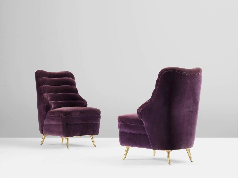 Pair of Italian Purple Velvet Lounge Chairs at 1stdibs