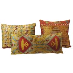19th Century Silk Embroidery Pillows