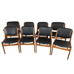 Arne Vodder Tilt Back Dining Chairs, Six Armless and Two Captains