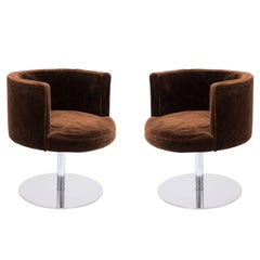 Pair of Harvey Probber 'Fraschini' Swivel Chairs in Stainless Steel