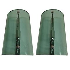 Pair of Italian Thick Blue Glass Wall Sconces Attributed to Fontana Arte