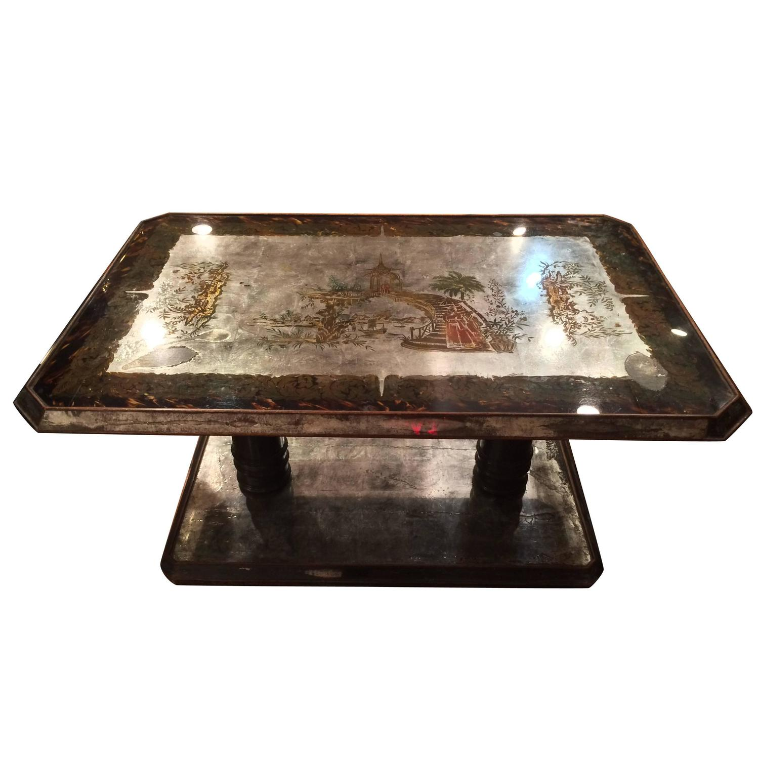 Chinoiserie Silver Leafed Reverse Painted Coffee Table At 1stdibs