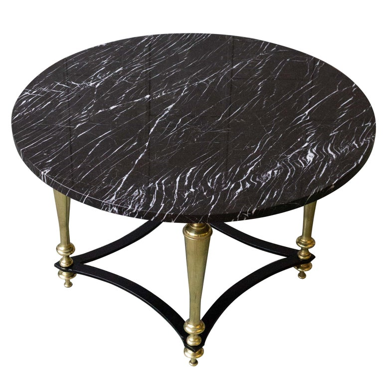 French 1940s Coffee Table with Grey Marble