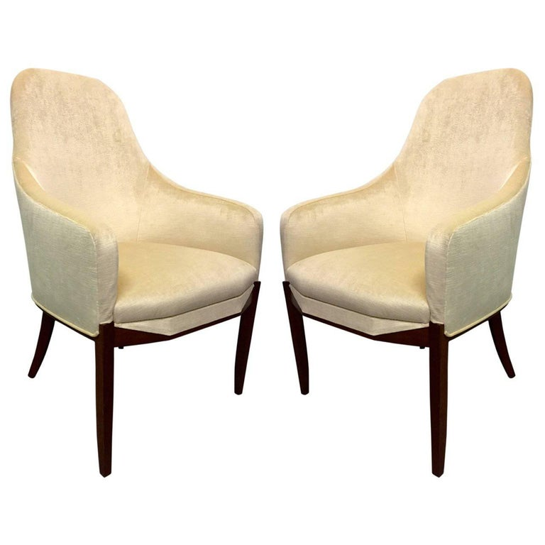 Pair of Art Deco Walnut Side Chairs Upholstered in Mohair