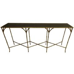 Large French Mid-Century Modern Gilt Iron Faux Bamboo Console, style of Bagues
