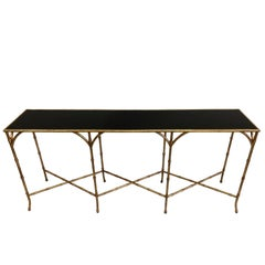 Large French Mid-Century Modern Gilt Iron Faux Bamboo Console, Maison Bagues