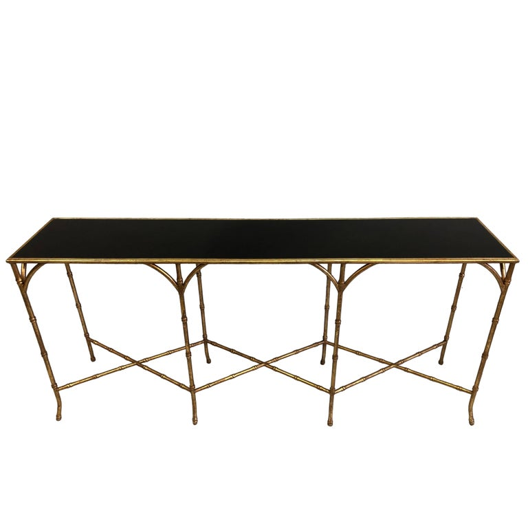 Large French Mid-Century Modern Gilt Iron Faux Bamboo Console, Maison Bagues 1