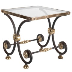 French Iron and Brass Side Table