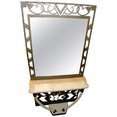 Art Deco Iron Console with Matching Mirror and Marble Tusks