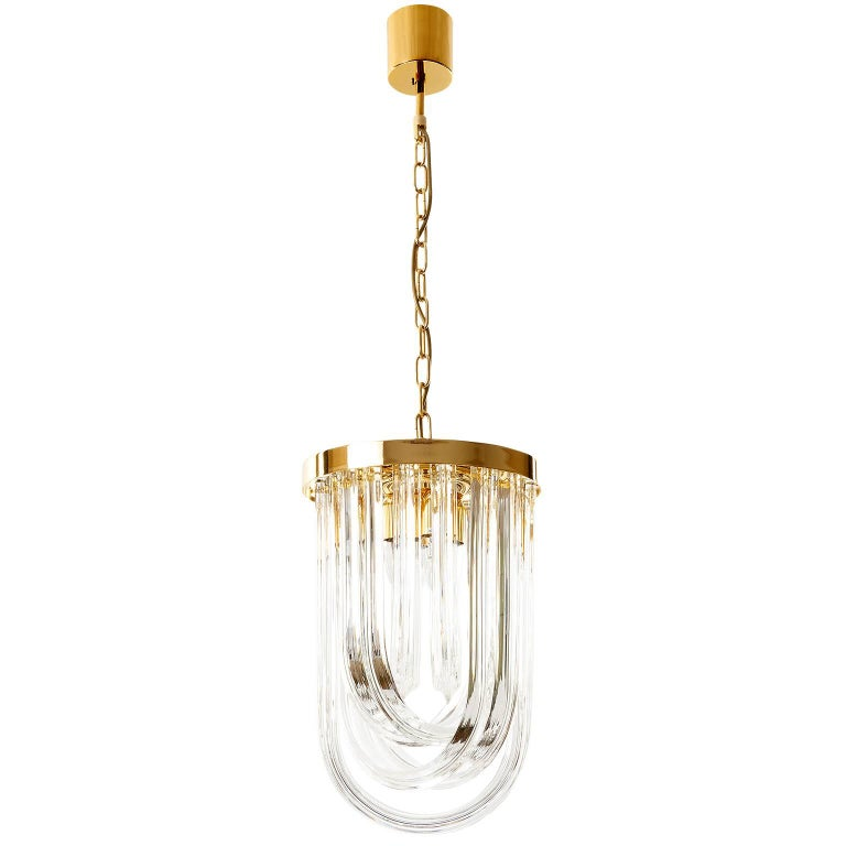 Venini Pendant Light Chandelier, Curved Crystal Glass and Gilt Brass, Italy For Sale