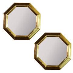 Pair of Octagonal Brass Frame Mirrors