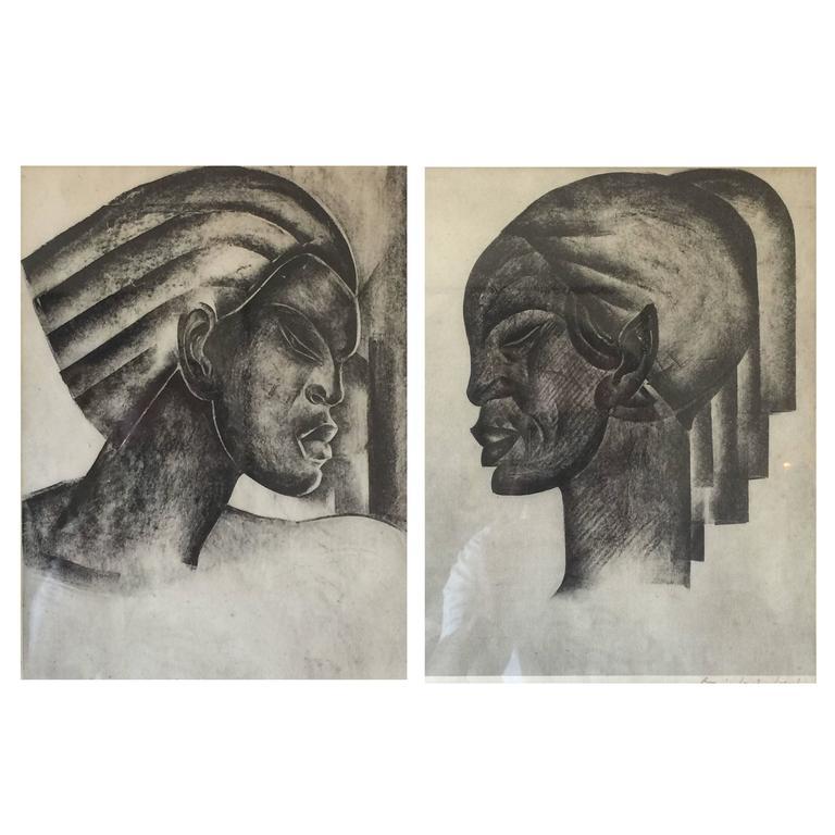 Pair of Rare Signed Art Deco Lithographs by Boris Lovet-Lorski
