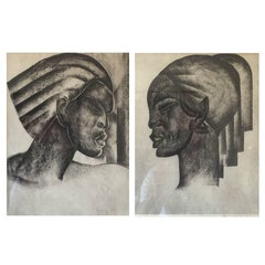 Pair of Rare Signed Art Deco Lithographs by Boris Lovet-Lorski