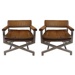 Pair of Milo Baughman Chrome X-Frame Lounge Chairs