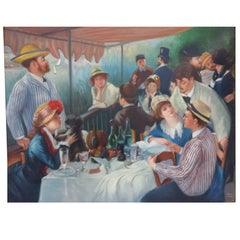 Original Impressionist 'Boating Party' Oil Painting after Renoir, signed J. Sanz