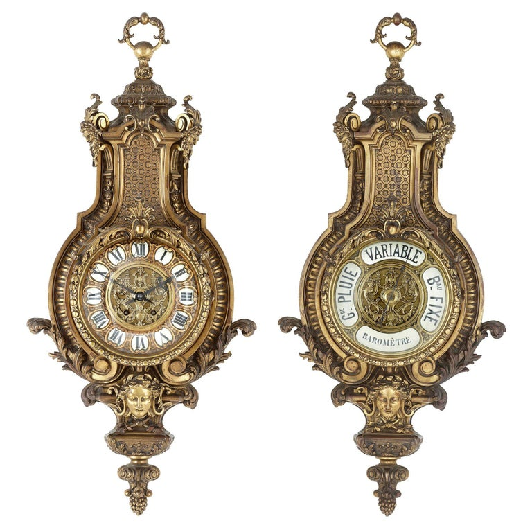 Baroque style antique French gilt bronze clock and barometer set by Beurdeley