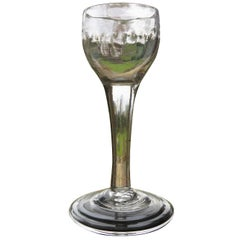 George II Cordial Wine Drinking Glass English Fluted Bowl, Hand Blown, Ca 1740